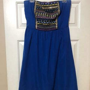 Blue strapless high low dress
